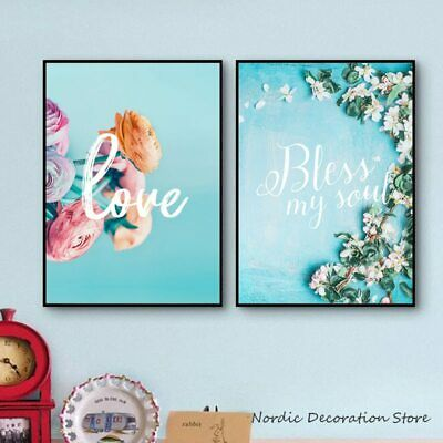 Pink Flower Love Letter Posters And Prints Blue Background Canvas Prints Art