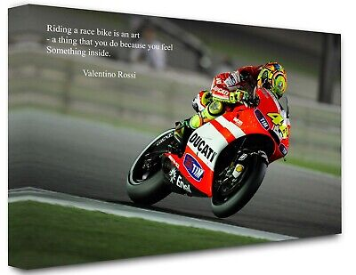 Valentino Rossi Art Quote Super Moto GP Wall Art Canvas Prints 30 x 20 INCH