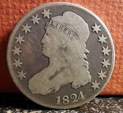 Very Nice Error Variety 1824 over 1 Silver Capped Bust Silver Half Dollar