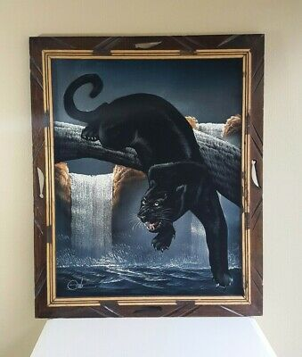 Vintage Painting on Velvet * Black Panther * Waterfall * Signed DAVID ORTIZ *
