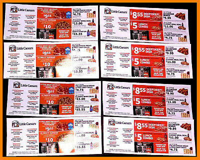 ⭐️ 8 SHEETS ⭐️ Little Caesar's Pizza Coupons ⭐️ Restaurant Pizzeria Food Ceasar⭐