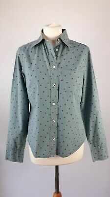 Boden Size 10 12 Light Blue Brown Spotty Shirt Blouse Top Cotton Fitted Womens