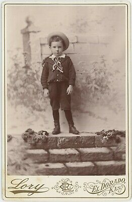 Young Boy In Great Outfit On Wall El Dorado, Kansas Cabinet Card Photo 2996