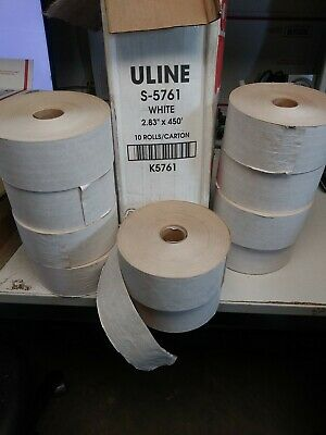 "10 ~ Central Uline S-5761 Industrial Reinforced Kraft White Tape 2.83"" x 450'"