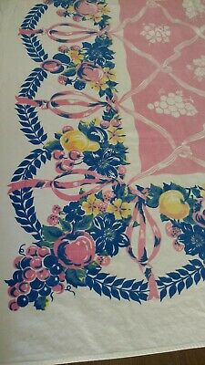 Vintage Retro Table Cloth Blue Pink Yellow - Rectangle  Swags Ribbons Fruit