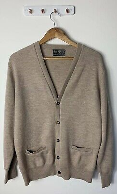 Leamor Wool Mens Size 18 100cm Cardigan Biege Button Down Pockets Pure New Wool