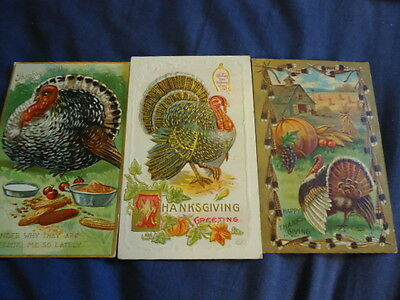 3 Used Vintage Thanksgiving Postcards Excellent Graphics 1908, 1910 & 1912