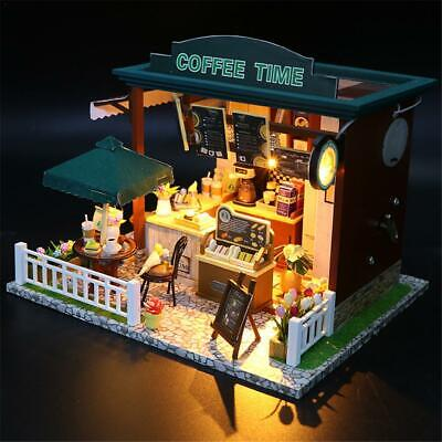DIY Wooden Toy Doll House Miniature Kit Caravan Dollhouse Cafe LED Light XMAS