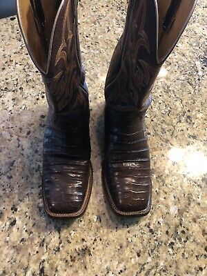 29843b17d20 MEN'S JUSTIN BROWN Chocolate Caiman Square Toe Boots Style #9608 Size 10 D  Nice!