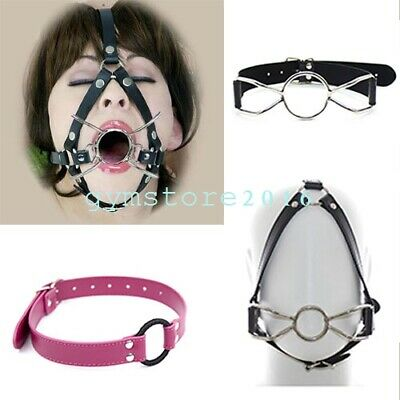 Slave Open Mouth Gag Oral Stuffed Pu Leather Head Harness Straps Restraints BDSM