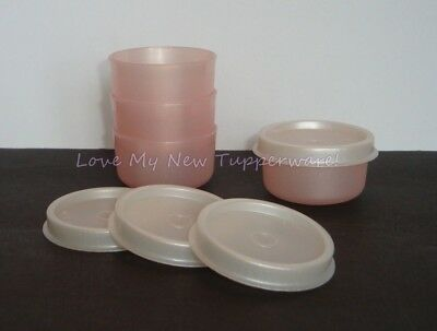 Tupperware Smidgets Set of 4 Spices Salad Dressings Beads Pearly Light Pink New