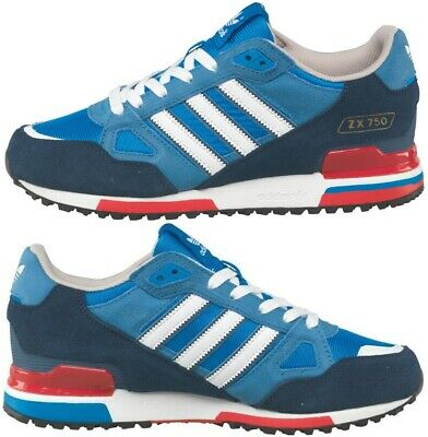 NEW ADIDAS ORIGINALS Mens Size 7-12 UK ZX 750 Trainers Blue Red ...