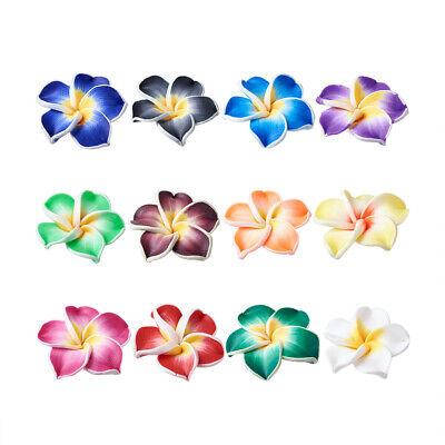200PCS Handmade Polymer Clay 3D Flower Plumeria Beads Jewelry Making Mixed Color