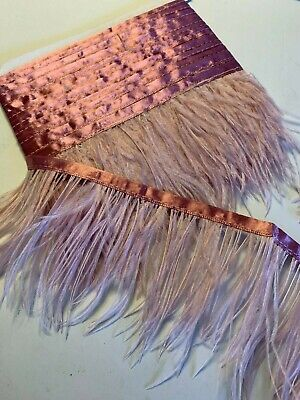 Dusty Pink Ostrich Feather Fringe Ribbon Trim Price for 30cm DIY Craft Decor