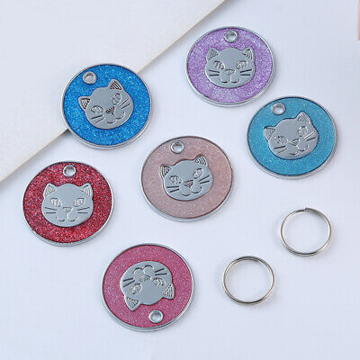Round Metal Dog Cat Collar Name Tag Engraving ID Owner Address Key Ring Soft