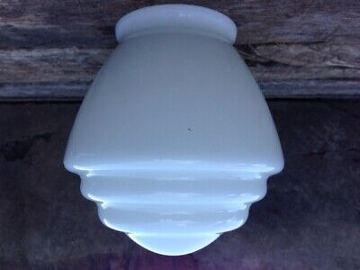 OLD Original ART DECO GLASS BEEHIVE STEPPED Pendant Lamp Light SHADE vintage