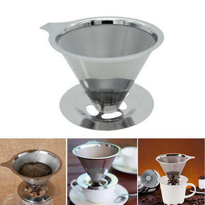Mesh Coffee Filter Cup Cone Pour Over Drip Dripper Maker Holder Stainless