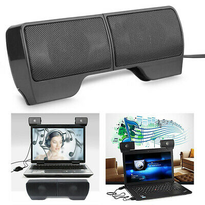 USB Clip-On Computer Sound Bar Stereo Laptop Desktop PC Notebook Mini Speakers