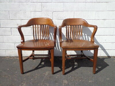 2 Antique Wood Armchairs American Chairs Lawyer's Seating Pair Traditional