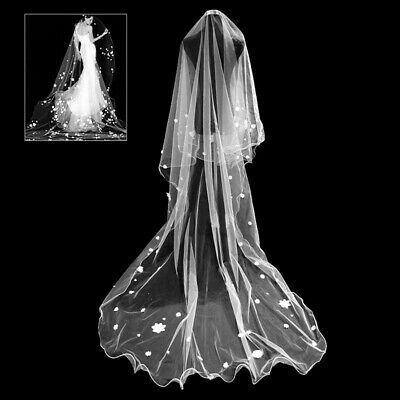 White Wedding Party Prom Long Gypsophila Bridal Veils Chapel Curled Edge Trendy~
