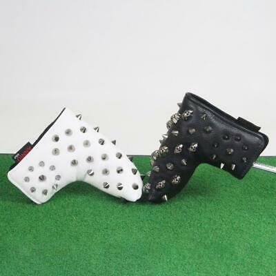 Skull Rivets Golf Putter Headcover Leather Club Head Protective Sleeve Bag