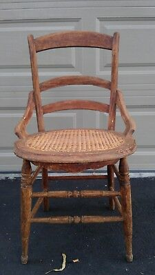 Chair Vintage Country French Cane Mid Century Antique Lounge Club Regency Shabby