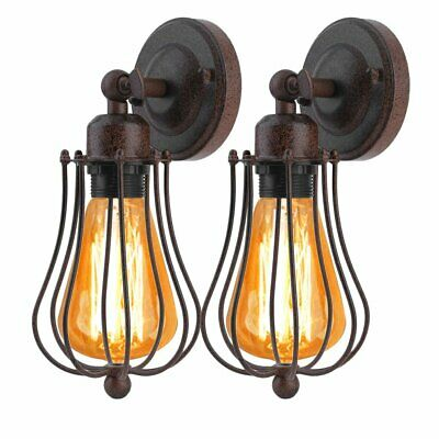 2 x Retro Vintage Industrial Wall Lights Sconce Bulbs Home E27 Lamp Iron Cage