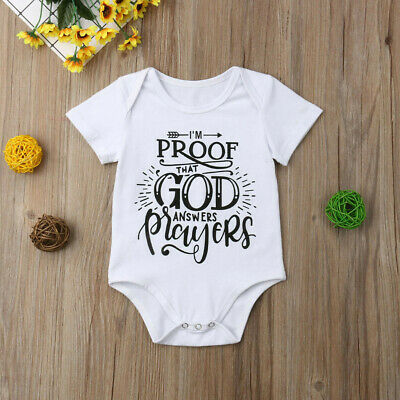 Newborn Infant Baby Boys Girls Letter Printed Romper Bodysuits Clothes Outfits