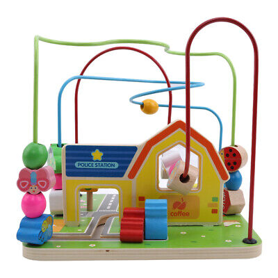 Baby Wooden Toy Mini Around The Beads Wire Maze Colorful Educational Game Kid FW
