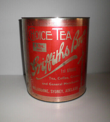 1920s VINT GRIFFITHS BROS 6lbs ROUND TEA TIN RED & GOLD WITH RAILWAY SIGNAL