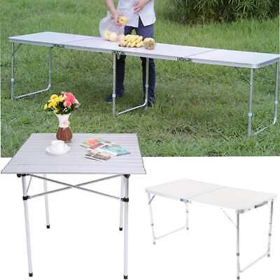 Aluminum 2FT/4FT/8FT Roll Up Table Folding Camping Outdoor Indoor Picnic W/ Bag