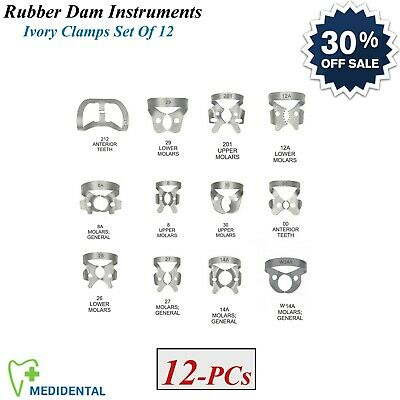 Set Of 12 Dentistry Restorative Instruments Rubber Dam Ivory Clamps Universal CE