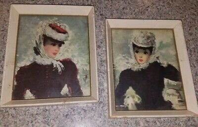 VTG Pair Of CHERRY JEFFE HULDAH Mid Century FRAMED Prints~FANCY Parisian Ladies