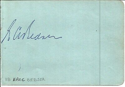 Eric Bedser signed piece with one other on reverse. Cricketer E1883