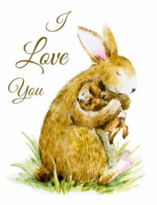Vintage-Like I Love You Mother Baby Bunny Bunnies Transfers Decals AN815~U PIC