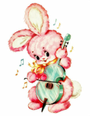 Vintage Image Retro Nursery Baby Pink Bunny Guitar Waterslide Decals AN751