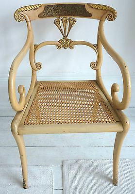 Regency period Painted and Gilded Elbow Chair , circa 1810.