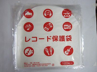 "100pcs Stat Disc File Plastic Inner Sleeves 12"" Record LP 0.028mm TAGUCHI JAPAN"