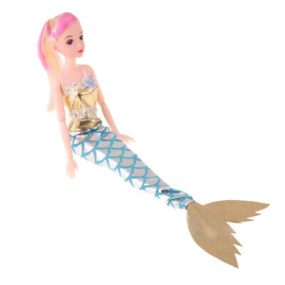 "12"" Sweet Gold Mermaid Princess Doll Colorful Hair Kids Changing Toy Gift"