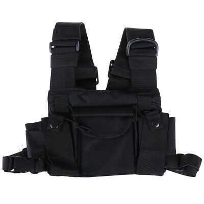 3 Pocket chest pack bag harness for walkie talkie radio bg