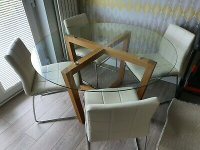 Astounding New Oporto Solid Oak Glass Dining Table Round 107Cm Or Uwap Interior Chair Design Uwaporg