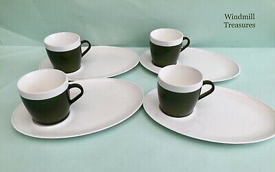 4 Vintage Insulex Melamine Dark Green Mugs With Tennis Plates