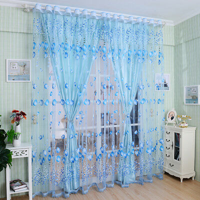 Floral Tulle Voile Door Window Curtain Drape Panel Sheer Scarf Valances Divid LY