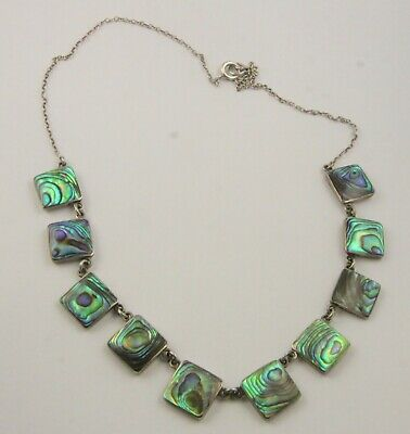 Vintage quality Art Deco c1930's sterling silver abalone shell necklace