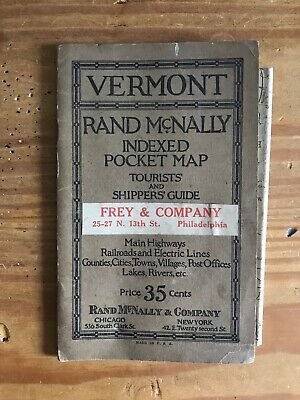 1920's Vermont Rand McNally Indexed Pocket Map Tourists & Shippers Guide