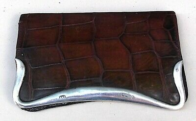 Antique Crocodile Leather & Silver Card Wallet Birmingham 1903