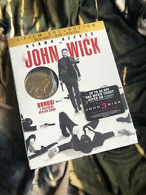 John Wick 2 film collection Blu-Ray + dvd +digital with 2 exclusive gold coins