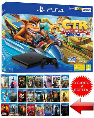 PLAYSTATION 4,PS4 500GB,CRASH TEAM RACING Bundle o GIOCO a SCELTA,Nuova,Garanzia