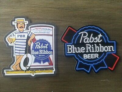 Pair of PBR Pabst Blue Ribbon MAGNETS beer fridge P.B.R. toolbox magnet