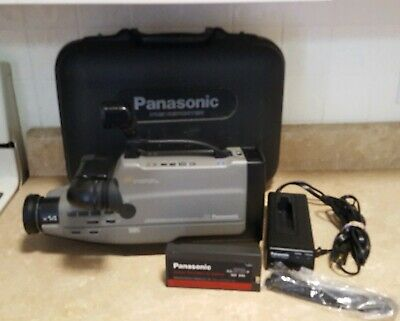 Panasonic AG-188 Reporter VHS Camcorder W/ Hard Case & Light - TESTED & WORKING